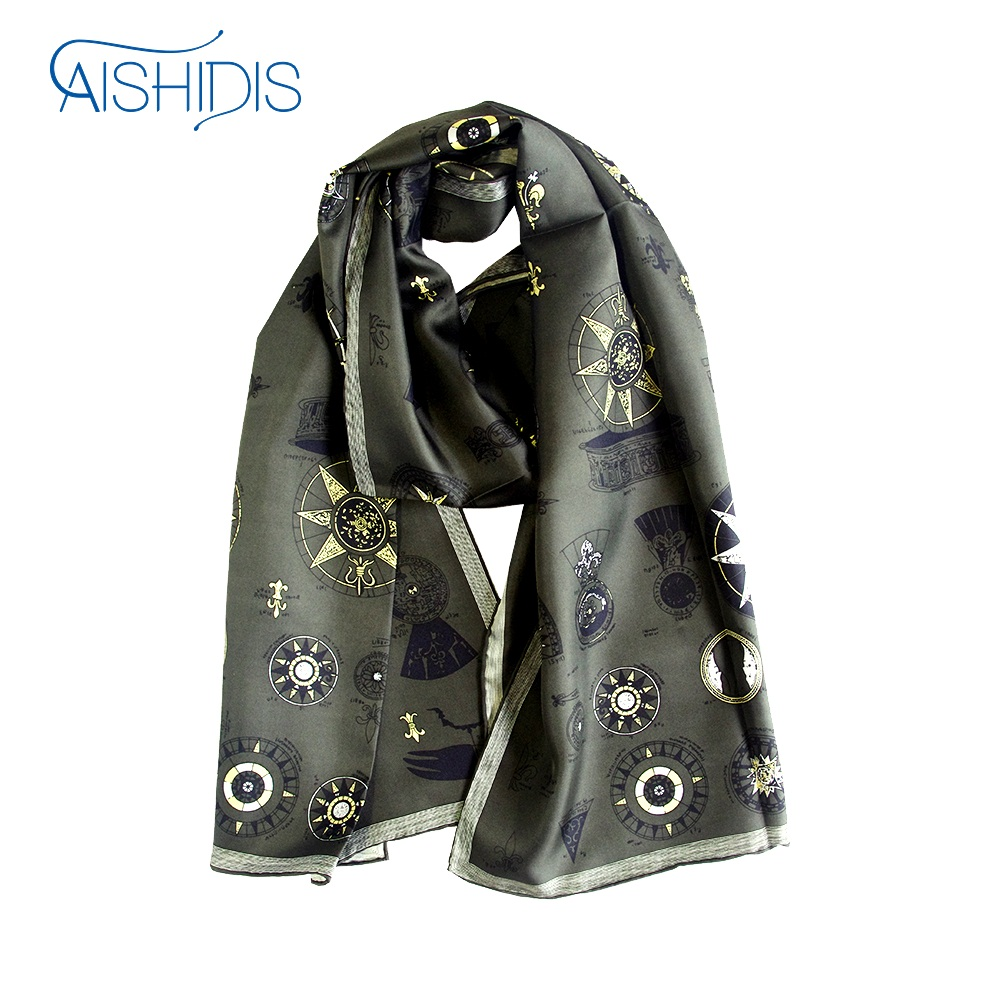 New Style Long Silk Scarf Vintage Men Women Striped Muffler Shawl Wrap Fleur-de-Lis Hotwheels Designed