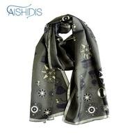 New Style Long Silk Scarf Vintage Men Women Striped Muffler Shawl Wrap Fleur de Lis Hotwheels Designed