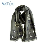 New Style Long Silk Scarf Vintage Men Women Striped Muffler Shawl Wrap Fleur de Lis Hotwheels Designed