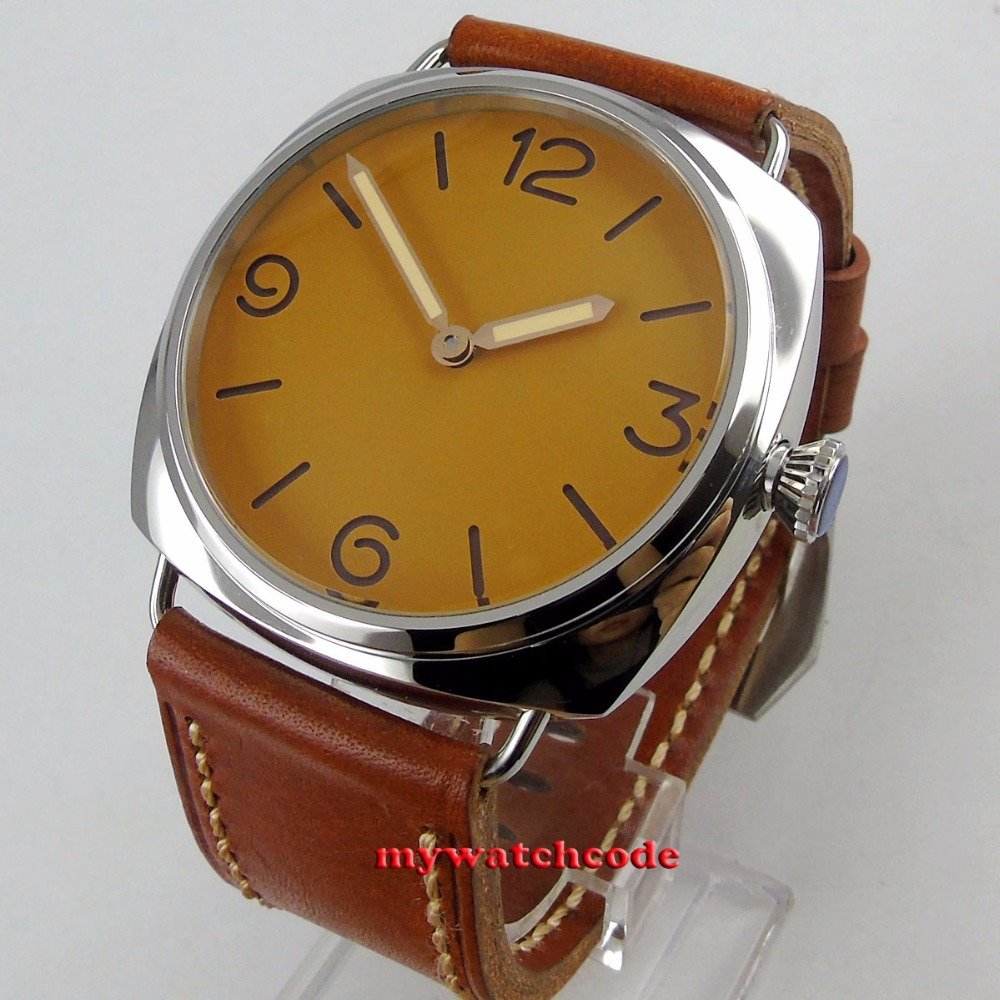 Grand visage 47mm parnis orange stérile cadran sandwich cadran 6497 d'enroulement de main en cuir mens montre