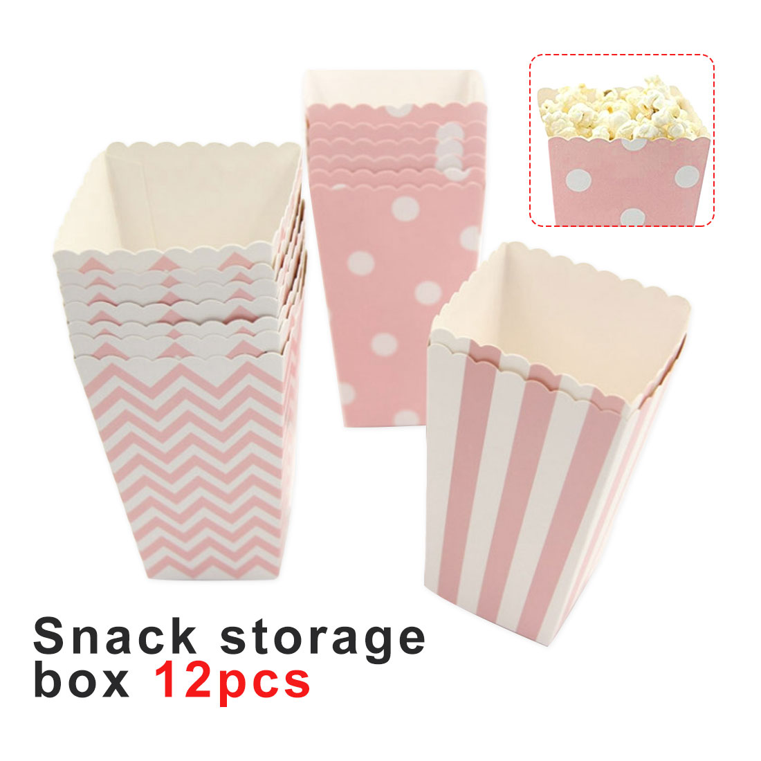 12pcs Paper Popcorn Boxes for Wedding Favours Sweets Candy Bags