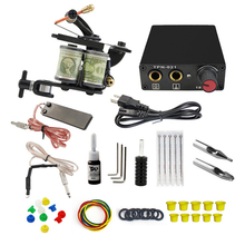 Complete Tattoo Machine Kit Set Coils Guns Pigment Sets Power Tattoo Beginner Grips Kits Permanent Makeup complete tattoo kits 8 wrap coils guns machine 1 6oz black tattoo ink sets power supply disposable needle free shipping