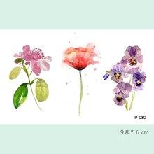Wyuen Watercolor Flower Waterproof Temporary Tattoo Stickers For Adults Kids Body Art Fake Tatoo For Women Men Tattoos P-080