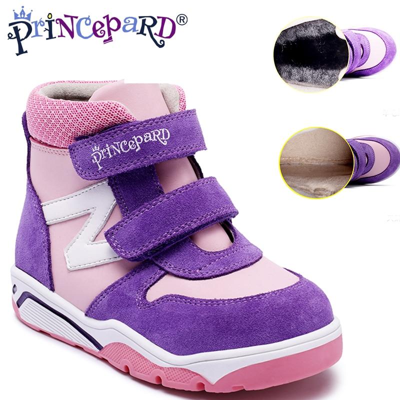 Princepard Premium qualité chaude synthétique fourrure automne et hiver rouge bottines pour filles enfants médical en cuir chaussures orthopédiques