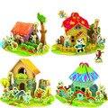 Бесплатная доставка, 4 Конструкций для Выбирают Дети DIY Деревянные 3D Puzzle Дома Комплекты Модель Строительные Деревянные игрушки Обучающие HT239