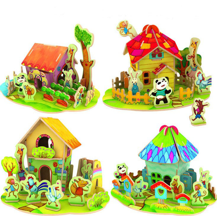 Free Shipping 4 Designs For Choose Kids Diy Wood 3d House Puzzle Model Building Kits