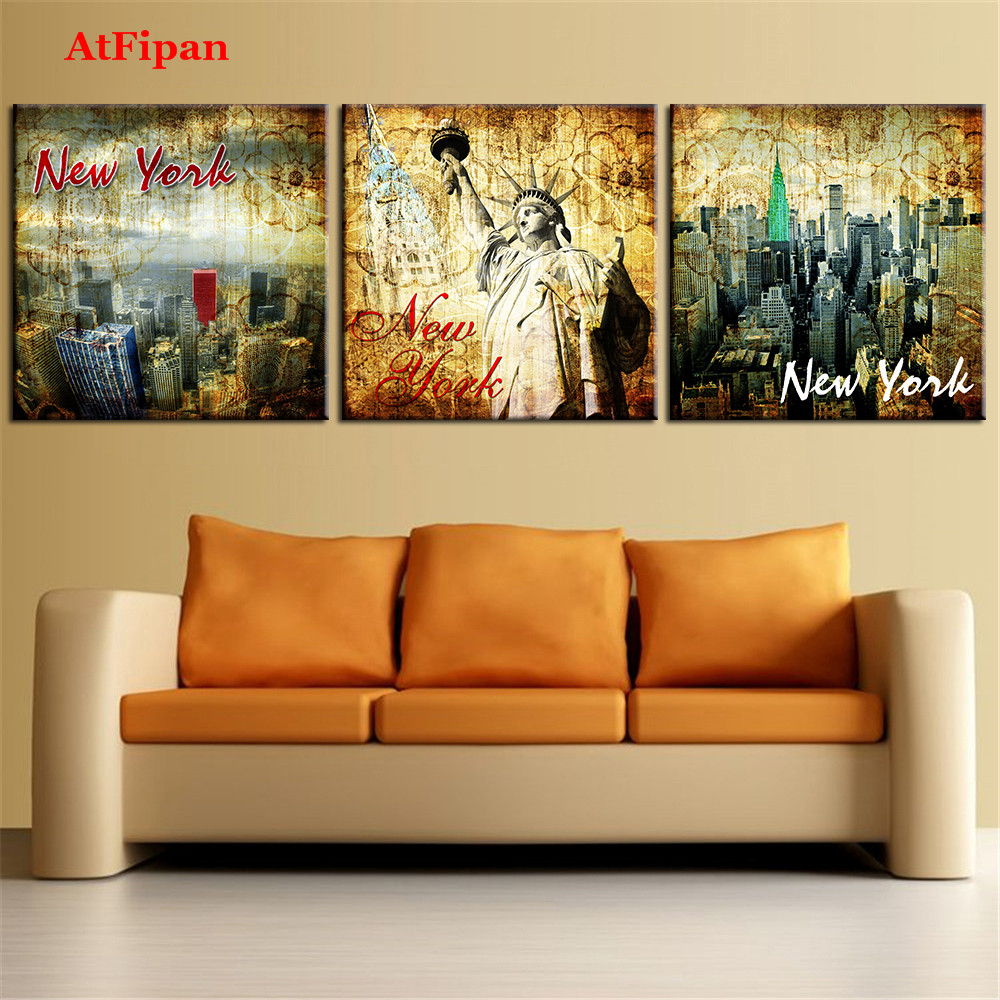 AtFipan Modern Abstract Oil Painting New York Landscape Home Decor ...