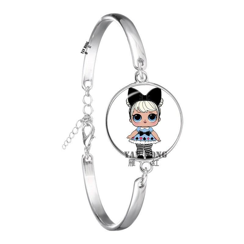Красивый кукольный стеклянный браслет 20 мм стеклянный купол мультфильм ювелирные изделия круглый стеклянный браслет детский очаровательный подарок - Окраска металла: 3