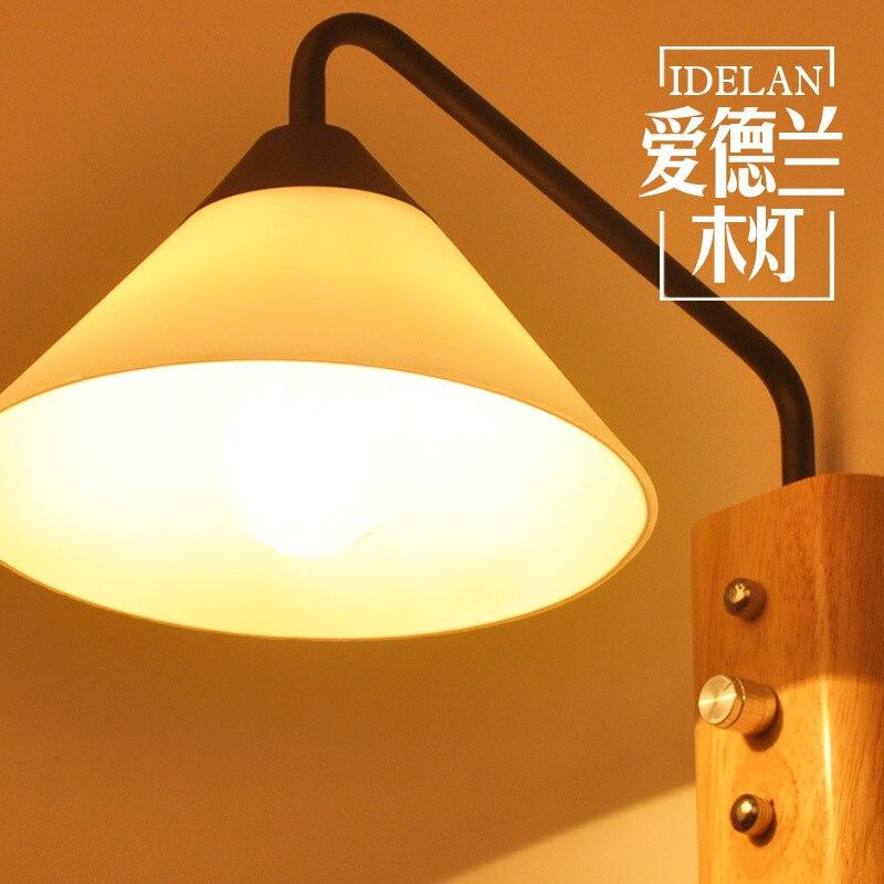 Деревянная мебель, японский стиль корейской лестницы, Прихожая прохода, спальня прикроватная лампа, сплошная деревянная стена лампа