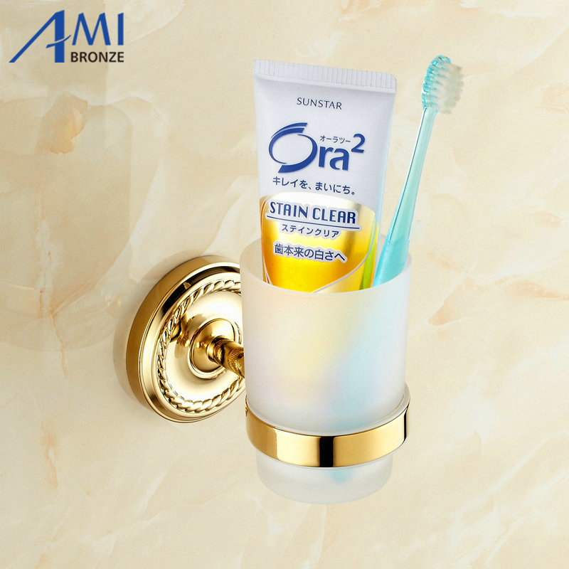 Golden toothbrush Holder Glass Cup Tumbler Wall Mounted Bathroom Accessories 7006G gprs module gsm module a7 sms voice development board minimum system iot artificial intelligence