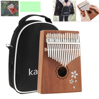 17 Keys Kalimba Single Board Mahogany Sakura Inlay Thumb Piano Sets Mbira Mini Keyboard Instrument with Bag
