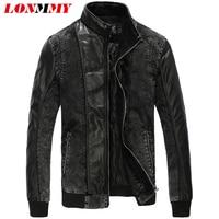 LONMMY 5XL Denim jacket men Outerwear bomber military Leather Streetwear Jeans jacket men Plus velvet liner Black 2017 Winter
