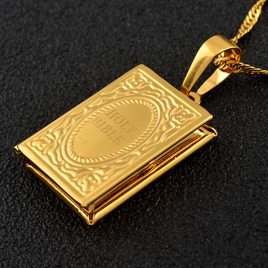 Anniyo Holy Bible Box DIY Pendant Necklaces Women Gold Color Biblia Jewelry Christianity Judaism Catholicism Orthodox #139206