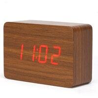 Commande vocale horloge numérique alarme de projection horloge réveil thermomètre numérique alarme en bois horloge led de projection CYP-012