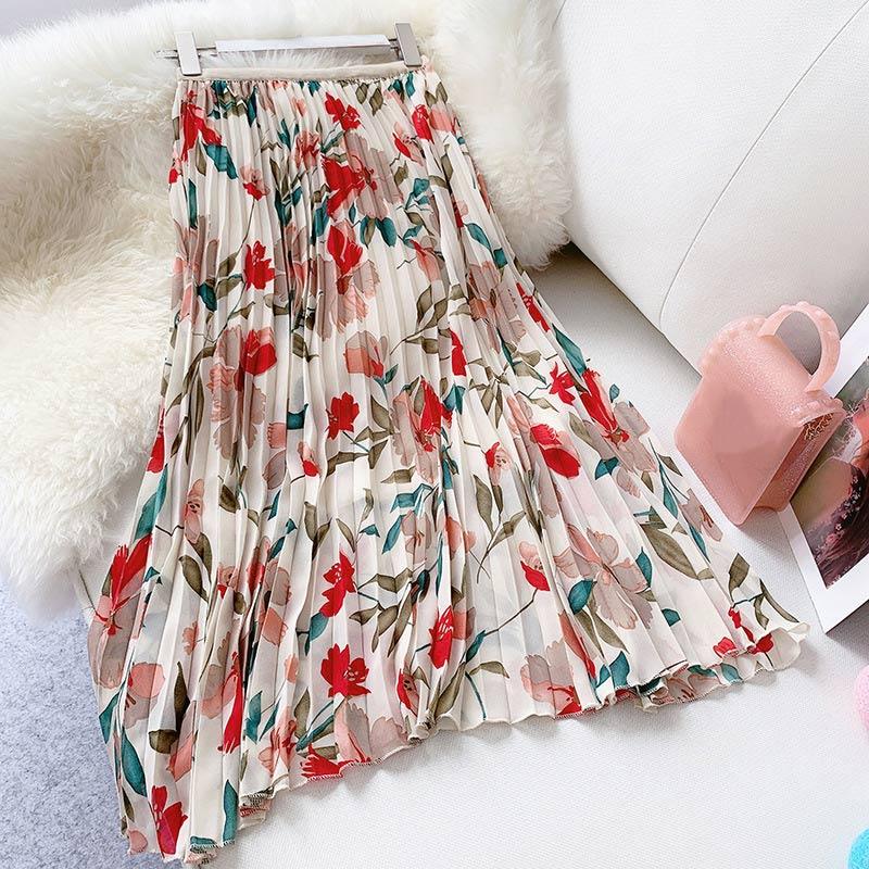 Pleated Floral Print Chiffon Women Vintage Skirt High Waist A-Line Ladies Long Skirts 2019 Summer Fashion Loose Female Bottoms