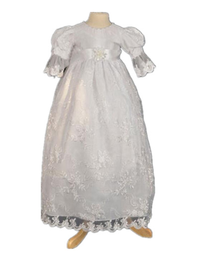 2016 Infant Toddler Christening Gown Baptism Dress Robe Baby Girl Lace Applique 0-24 month newborn baby christening gown infant girl s white princess lace baptism dress toddler baby girl chiffon dresses hat 2pcs set