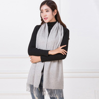 Winter Women Shawl&Scarves 100% Goat Cashmere Pashmina Blanket Fashion Solid Color Gray/Red/Pink Wrap Thicken Scarf Tassels