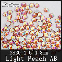 Buy for Girls ss20 Light Peach AB Machine Cut 1440pcs Non Hotfix Rhinestones For Nail Decorations