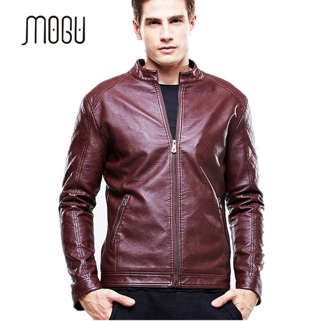 MOGU 2017 Brown Leather Jacket Men Stand Collar Black Motorcycle Jacket For Men Zip Closure Casual Mens Leather Jacket