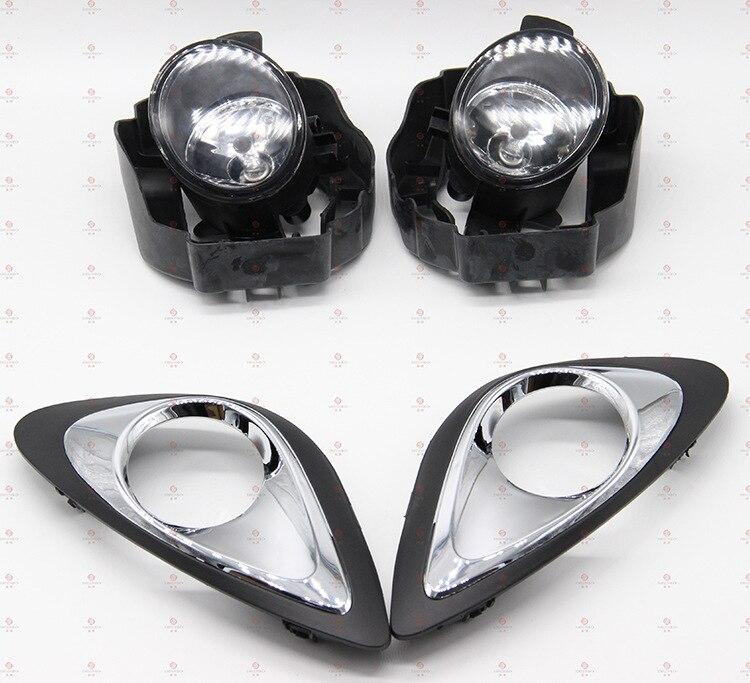 ФОТО Hireno Car Fog lights for Nissan Micra MARCH 2013 20014 2015 Cable Harness Halogen fog Lamp switch control Set 2Pcs