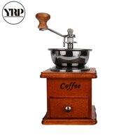 Yrp clássico de madeira manual moedor de café mão aço inoxidável retro café spice mão-manivela rolo moinho de café ferramentas de café