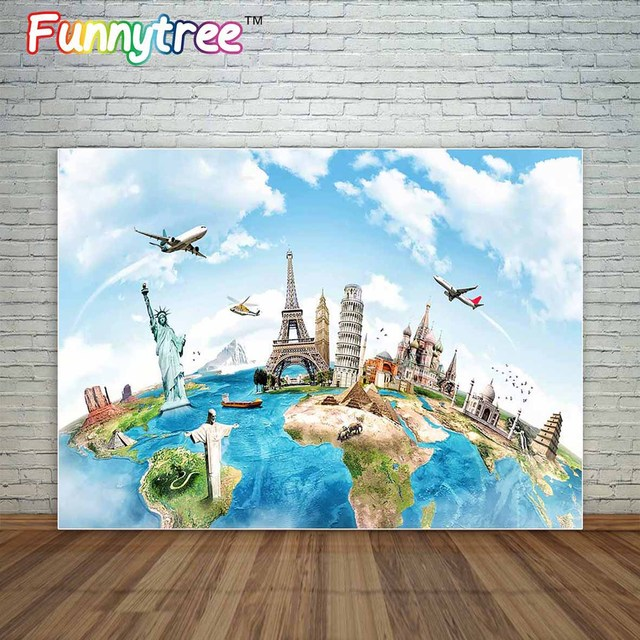 backdrop travel the world Famous architecture love wedding background Valentine's Day photography a photo studio backdrop vinyl