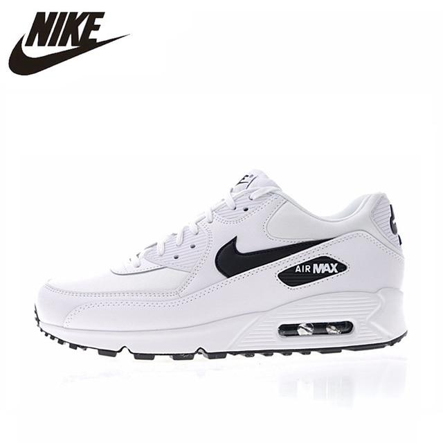 NIKE AIR MAX 90 ESSENCIAL Dos Homens e das Mulheres Running Shoes Respirável Branco-absorção de Choque Leve 325213 131