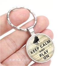 Keep Calm and Play on Quote Key Chain Piano Jewelry KeyChain Handmade Art Glass Dome Pendant Silver Ring for Women Gifts