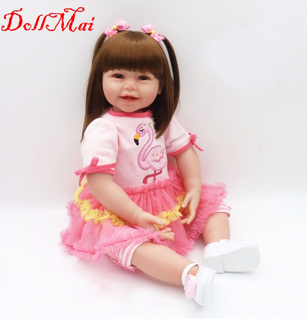 DollMai bebe princess reborn baby dolls <font><b>24inch</b></font> 60cm lovely silicone reborn baby girl dolls DIY children gift toy dolls image