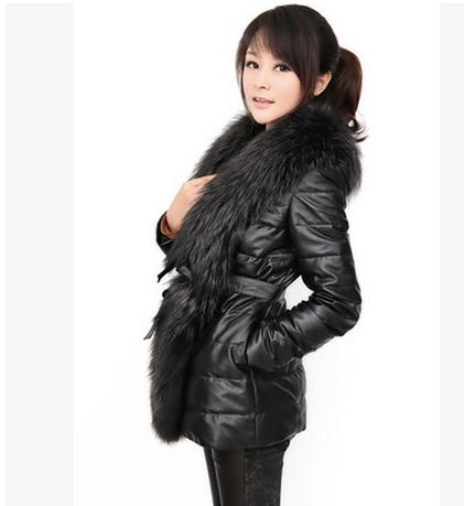 Anti-Season Plus Size Faux   Leather   Jacket Pacthwork Faux Rabbit Fur Collar Long Section Jackets Womens Pu   Leather   Coats K302