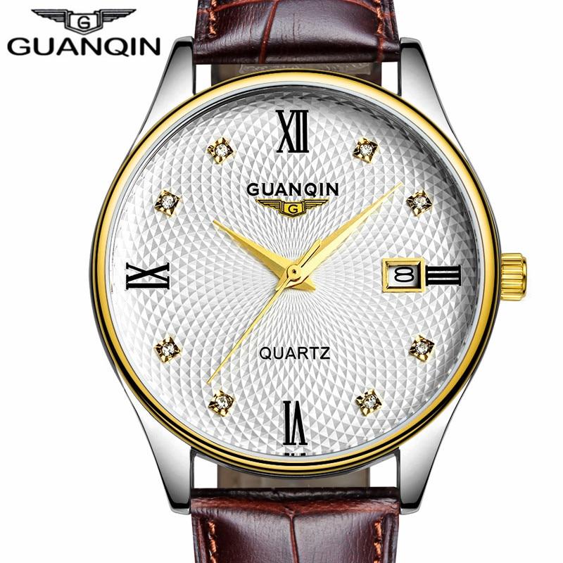 saat erkekler GUANQIN Watch Men Brand Watch Quartz Leather Strap Waterproof Men Watches Fashion Casual Wristwatches Best Gifts цена и фото