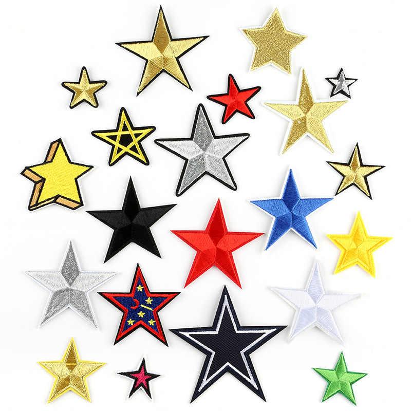 1pc Moda Artesanal Bordado Estrela de Cinco pontas-Ferro Em Remendos Vermelho Amarelo Azul Preto Adesivos Para Mochila Crianças roupas