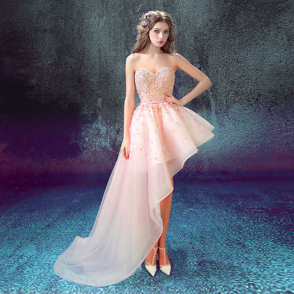 ... QUEEN BRIDAL Evening Dresses High Low Pink Lace Flowers Short Elegant Party  Prom Dress Evening Gowns ... bb47510d988e