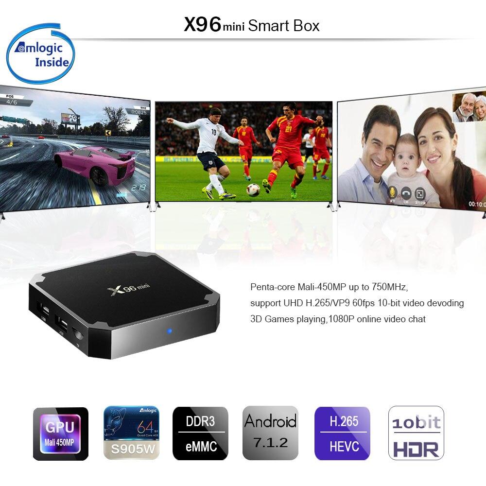 X96 mini Android 7.1.2 TV BOX 2 gb di Android tv box Amlogic S905W Quad Core Suppot H.265 UHD 4 k wiFi X96mini Set-top box x 96 tvbox