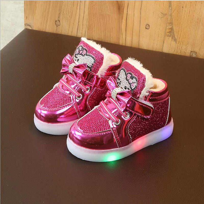 Hot Autumn Winter Children's Sneakers Keep Warm Kids Shoes For Girls Toddler Casual Shoes With LED Light Up Luminous Sneaker
