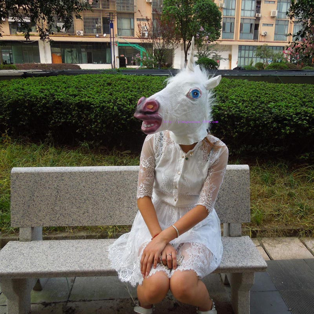 New Years Horse Head Mask Animal Costume n Toys Party Halloween Decoration Head Set Horse Mask Natural Environment Latex Vinyl