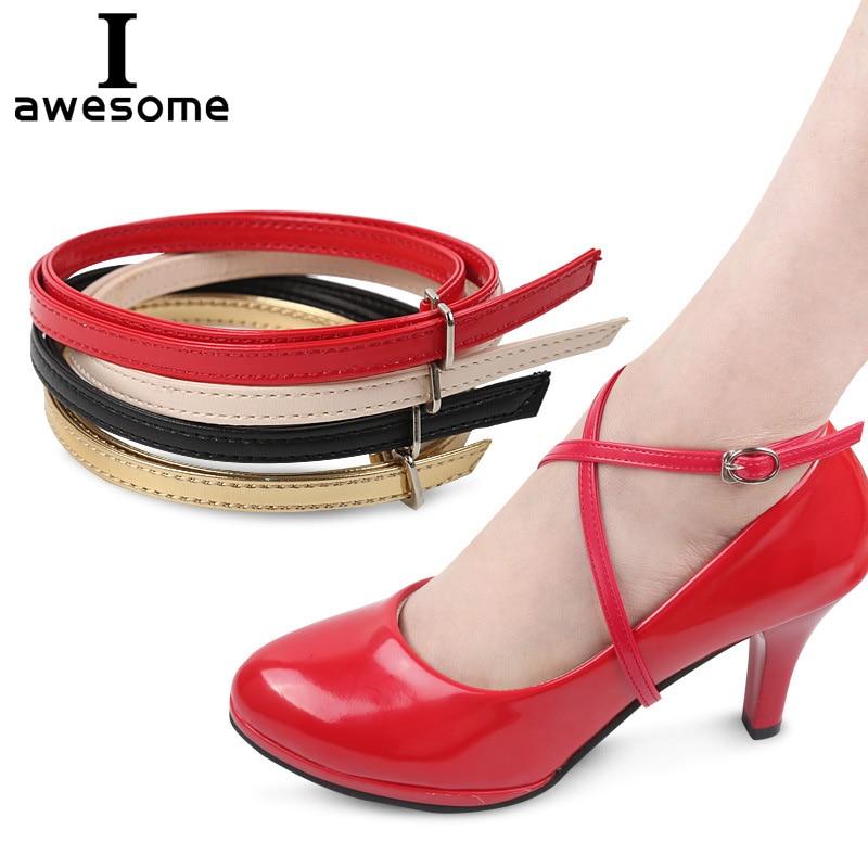 Fashion Design 1 Pair Charm Women Convenient PU Leather Detachable Shoes Belt Ankle Shoe Tie Lady Cross Strap Lace Band
