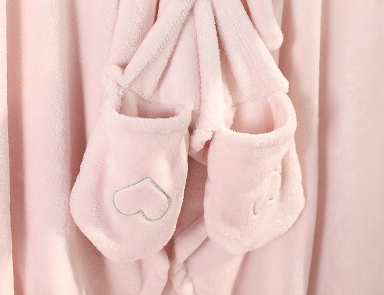 Cute Pink Comfy Blanket Sweatshirt Winter Warm Adults and Children Rabbit Ear Hooded Fleece Blanket Sleepwear Huge Bed Blankets 159