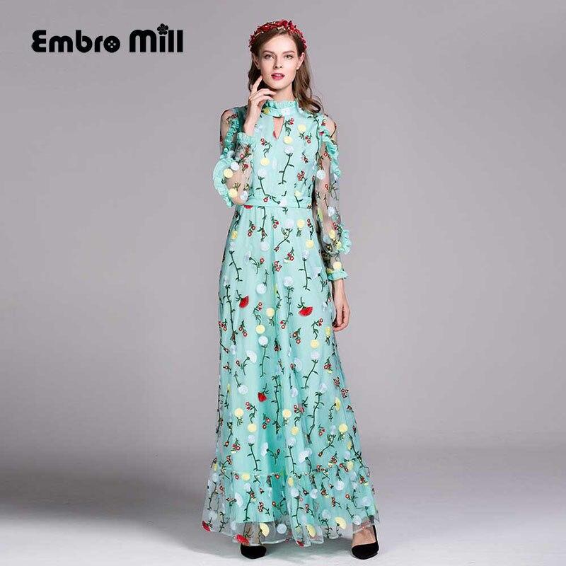 Высокое качество платья макси с цветами европейской моды взлетно посадочной полосы вышивка Элегантный бальный наряд длинные партии Вышиты