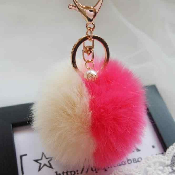 Offre spéciale mignon femmes porte-clés sac accessoires lapin fourrure boule porte-clés sac en peluche sac à dos pendentif cadeau femme mode dames