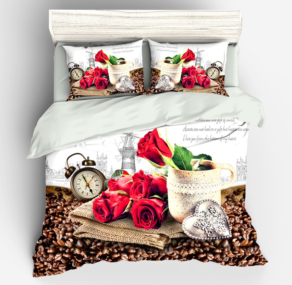 Flower print 3D bedding set 100%Polyester Bed sheet+Pillow cases+Duvet/Blanket cover  Flower print 3D bedding set 100%Polyester Bed sheet+Pillow cases+Duvet/Blanket cover