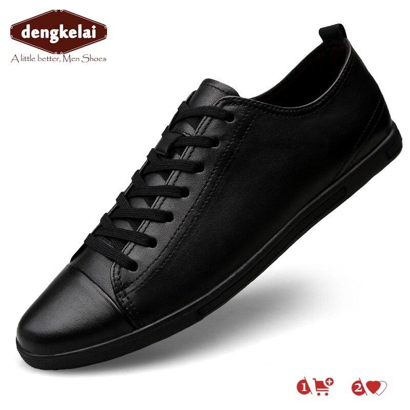 DENGKELAI 2019 nouveau Style blanc homme chaussures printemps baskets en cuir chaussures décontractées mode baskets