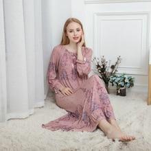 Primavera e Outono Senhoras Longo sleeved Mulheres Sleepwear Modal de Algodão Longo Solto Coreano Palácio Princesa Camisola Longa Camisola