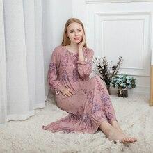 Spring and Autumn Ladies Long sleeved Women Sleepwear Cotton Modal Long Loose Korean Palace Princess Nightdress Long Nightgown