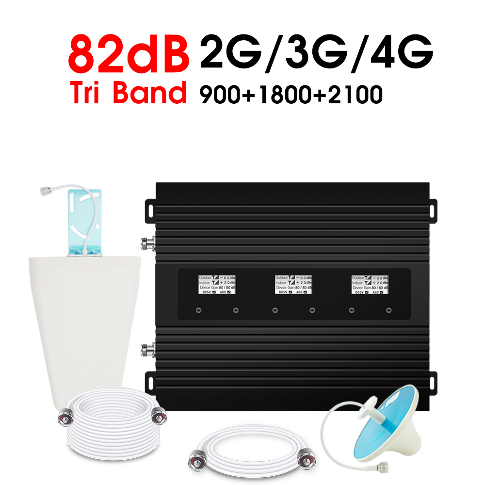ATNJ 2G 3G 4G Tri-Band Signal Repeater GSM 900 LTE 1800 WCDMA 2100 MHz Cellphone Signal Booster 82dB Gain Amplifier LCD Dispaly