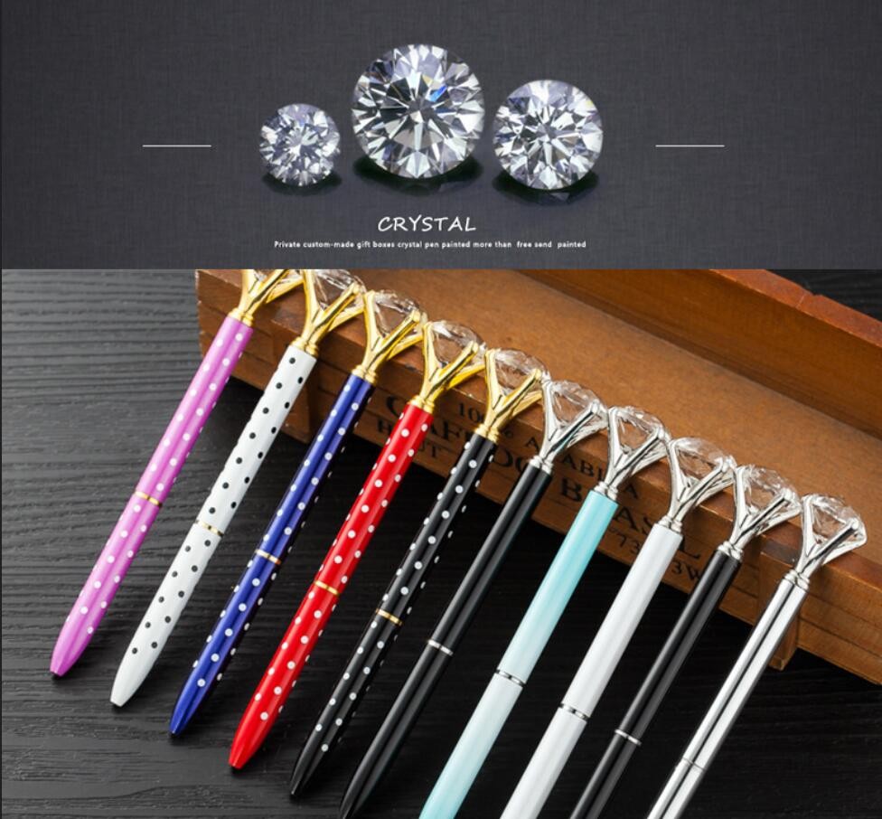 Colorful diamond pen big Crystal Pen Diamond Ballpoint Pen Stationery Ballpen Oily Rotate twisty Black / blue Refill Office gift mengran stationery ballpoint pens kawaii bling rhinestone diamond crystal pen cute color luxury metal office supply gift ballpen page 5