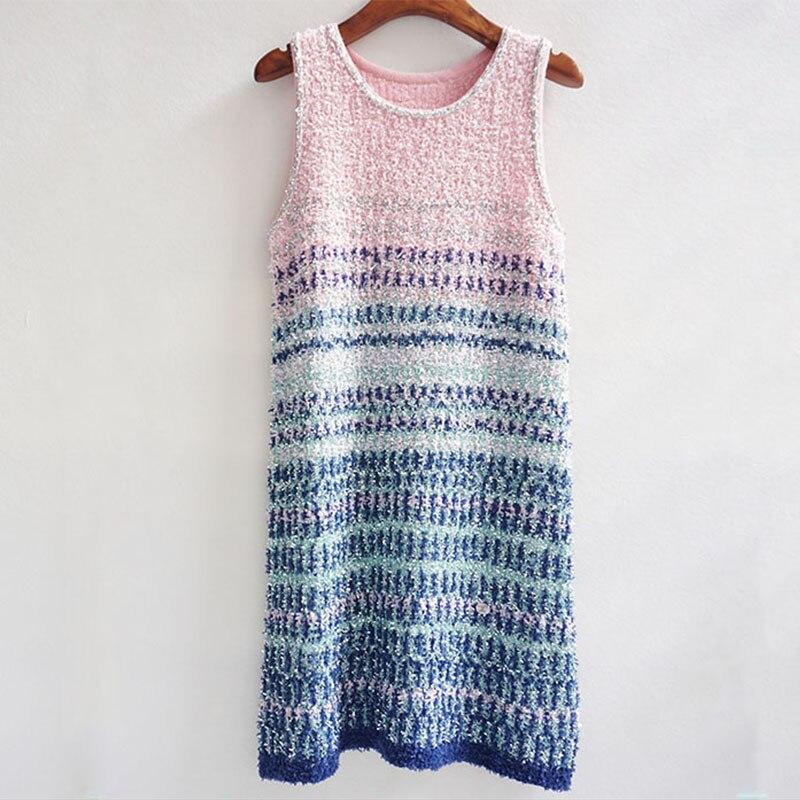 Marque de luxe Designer robe tricotée pour les femmes d'été sans manches paillettes rayure dégradé Tweed robe tricotée de haute qualité