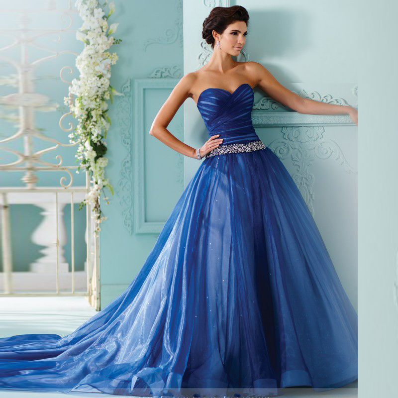 Online get cheap royal blue wedding dresses aliexpress for Blue dresses to wear to a wedding