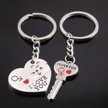 wholesale lovers couple Keychain Key Chain Keyring Key Ring i love you Chaveiro Gift Souvenir Llaveros couple gift for man women(China)