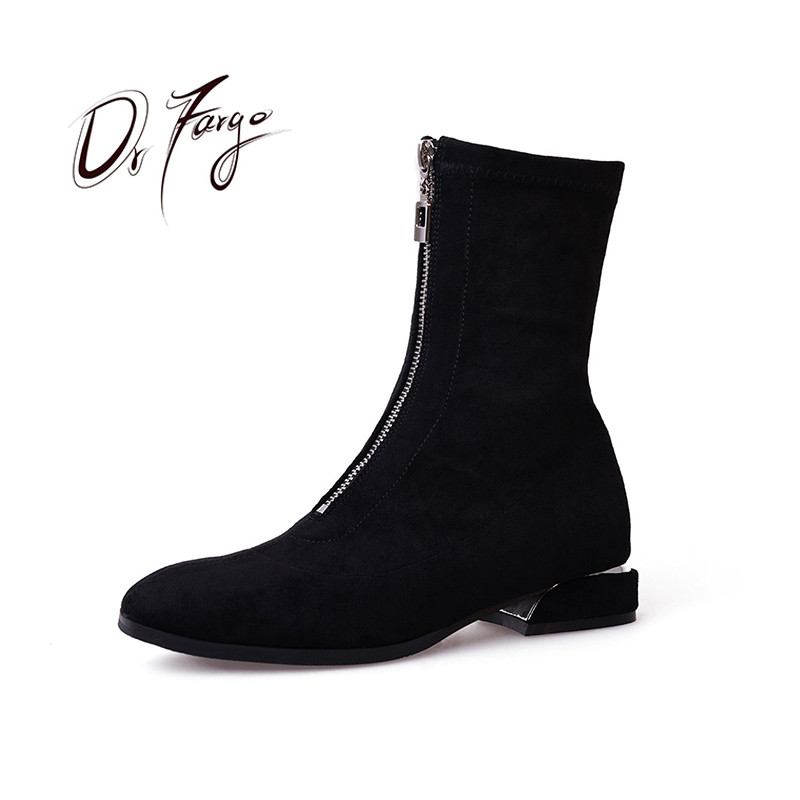 DRFARGO Ankle Boots for Women Low Heel Front zip Botines Mujer Faux Suede Shoes Plus big size 34-43 1805